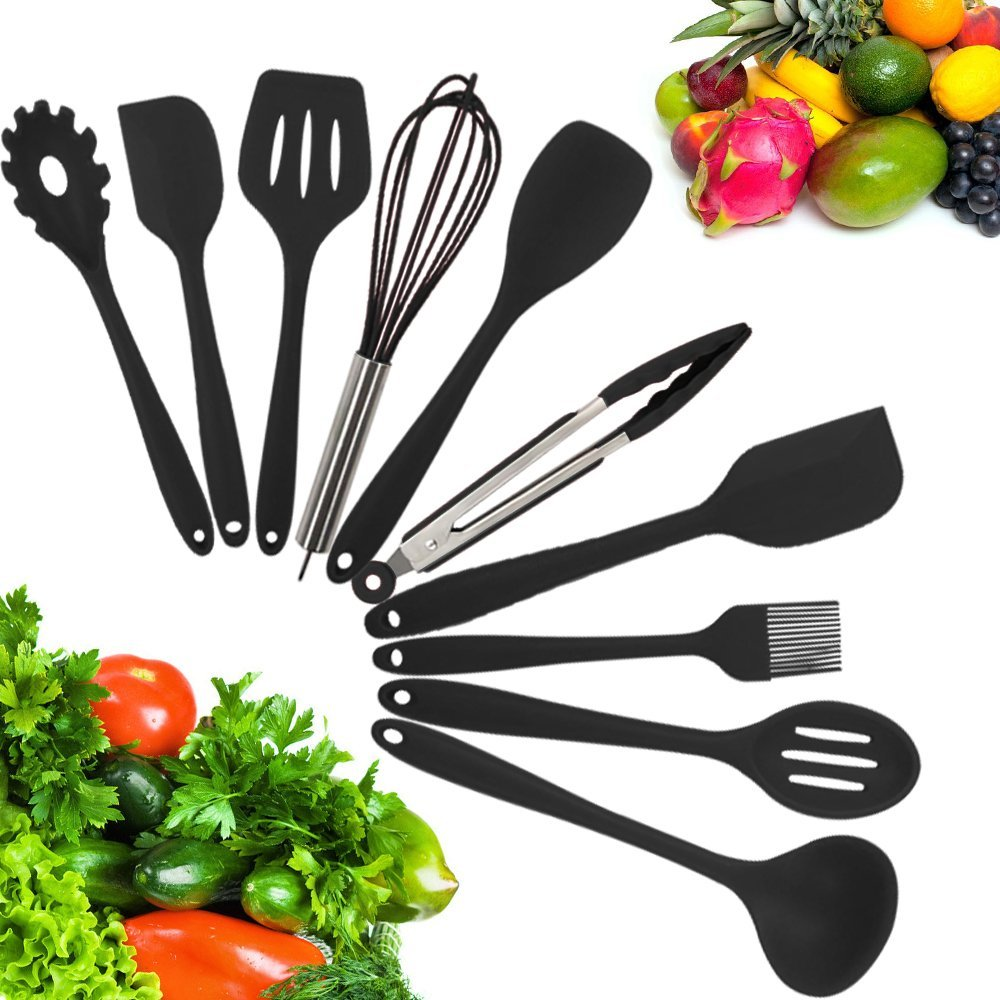 10 Piece Kitchen Utensil Set - Stainless Steel Metal and Black Silicone Serving Utensils Including Tongs Spoons Spatula Ladle Whisk and Frosting Spatula Professional Nonstick Safe Modern Cooking Tools
