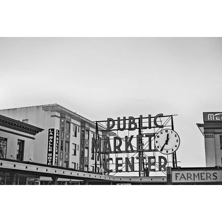 Canvas Print Public Market Starbucks Place Pikes Peak Seattle Stretched Canvas 10 x 14