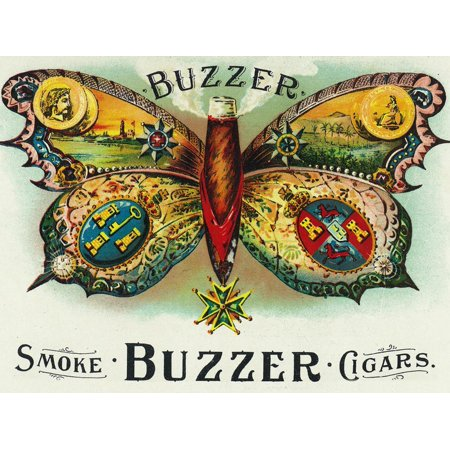 Buzzer Brand Cigar Inner Box Label Vintage Smoking Butterfly Advertisement Print Wall Art By Lantern -