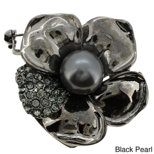 Fantasyard Silvertone or Black-plated Faux Pearl and Crystal Flower Brooch