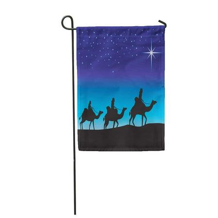 SIDONKU Blue Nativity Three Wise Men Silhouette on Camels Following The Star Bethlehem Garden Flag Decorative Flag House Banner 12x18 inch