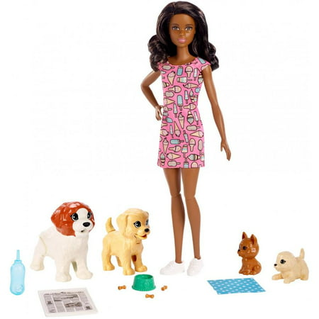 Barbie Doggy Daycare Doll, Brunette Hair with 2 Dogs & 2 (Puppy Dog Doll Toy)