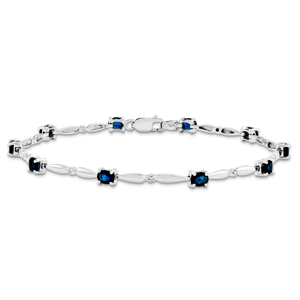 14K White Gold Diamond and Sapphire Gemstone Bracelet 7inch by Diamond2Deal