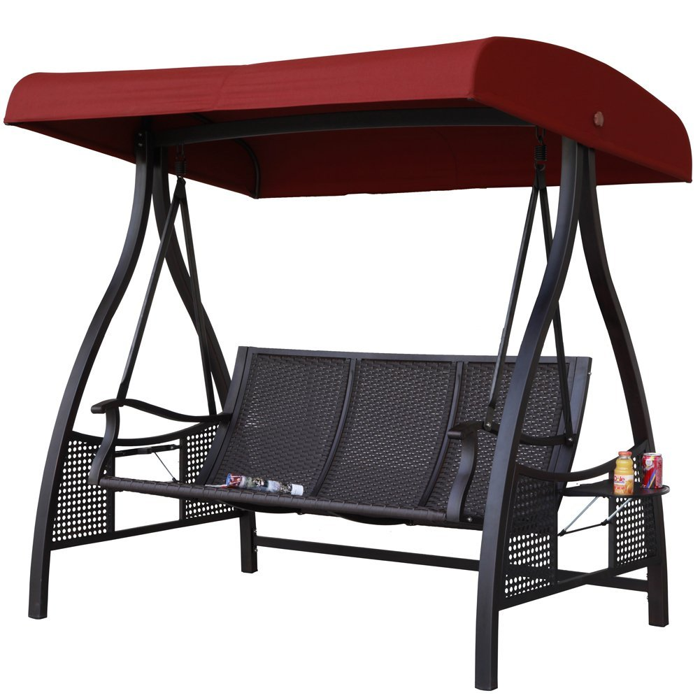 Abba Patio 3 Person Outdoor Metal Gazebo Padded Porch Swing Hammock With  Adjustable Tilt Canopy, Red   Walmart.com