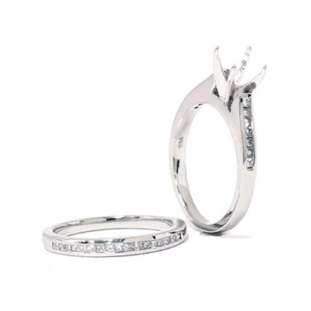 7/8ct Princess Cut Diamond Semi Mount Engagement Wedding Ring Set 14K White Gold