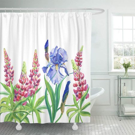 XDDJA Blue and Violet Irises Pink Lupine Watercolor Flowers Leaves on Shower Curtain 66x72 inch - image 1 de 1