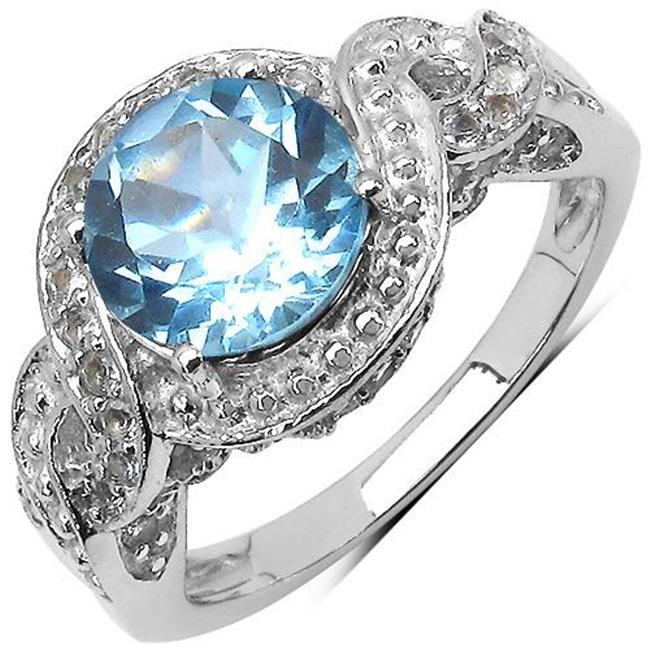 Majesty Diamonds Round Cut Blue Topaz & Round Cut White Topaz Halo Cocktail Ring in 0.925 Sterling Silver, 3.25 Carat - Size 6
