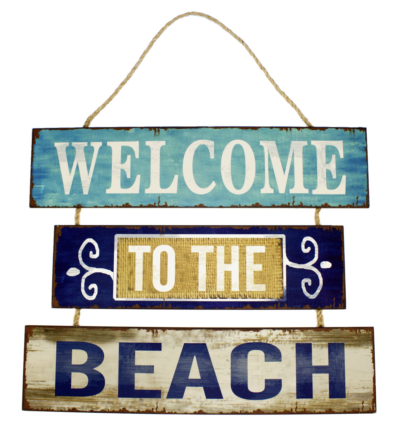 Welcome To The Beach Triple Sectioned Wood Wall Plaque 17 Inches