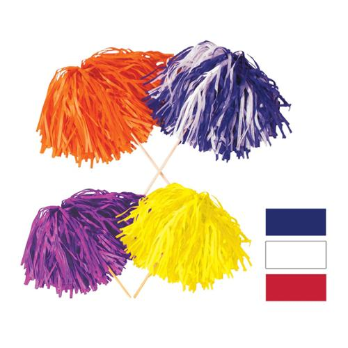 """Club Pack of 144 Red, White and Blue Pom Pom Tissue Shakers 16"""" Stick x 12"""" Strand (320)"""