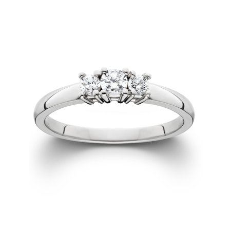 1/4 ct Three Stone Diamond Engagement Womens Anniversary Ring 14k White Gold