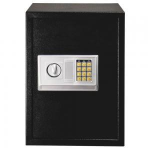 Safe Box , Home Business Security Keypad Lock Electronic Digital Steel Safe Box Black & Silver Gray