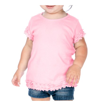 Lettuce Edge Shirt - Kavio I1C0334 Infants Crew Neck Lettuce Edge Short Sleeve-Baby Pink-6M