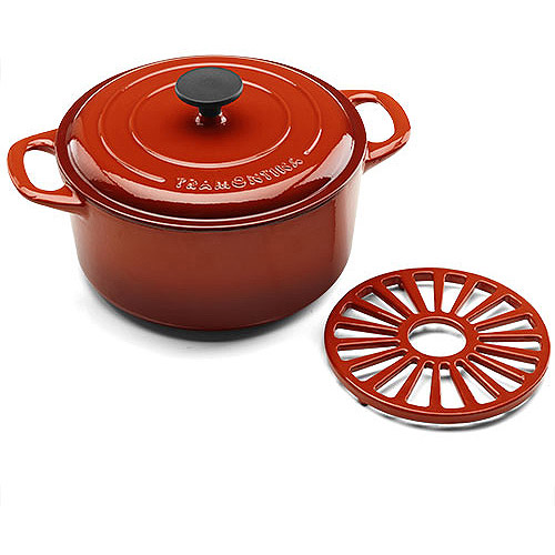 Tramontina 5.5-Quart Cast Iron Dutch Oven with Bonus Trivet, Assorted Colors