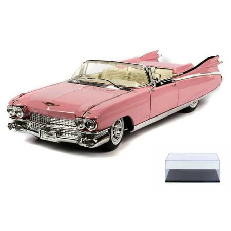Diecast Car & Display Case Package - 1959 Cadillac Eldorado Biarritz Convertible, Pink - Maisto Premiere 36813 - 1/18 Scale Diecast Model Toy Car w/Display Case