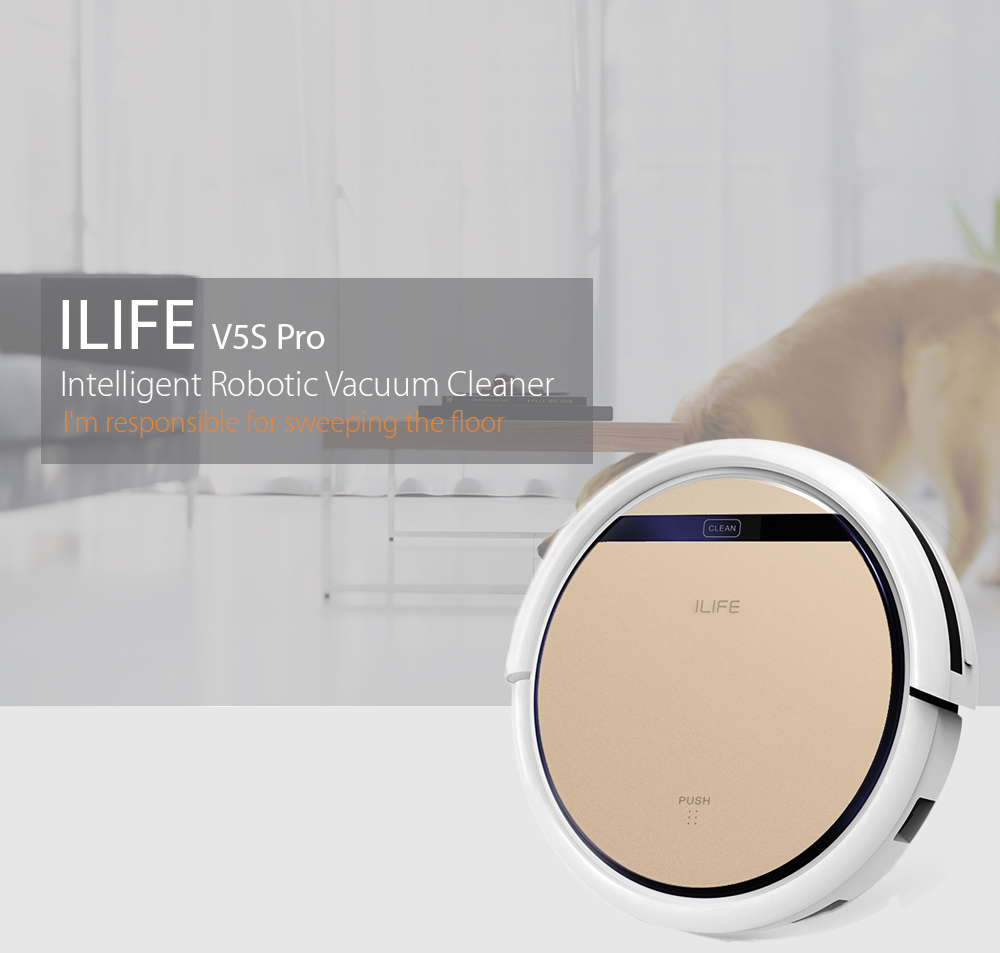 ILIFE V5s Pro Robotic Vacuum Cleaner with Water Tank Mop, Mopping Floor Scrubbing Robot