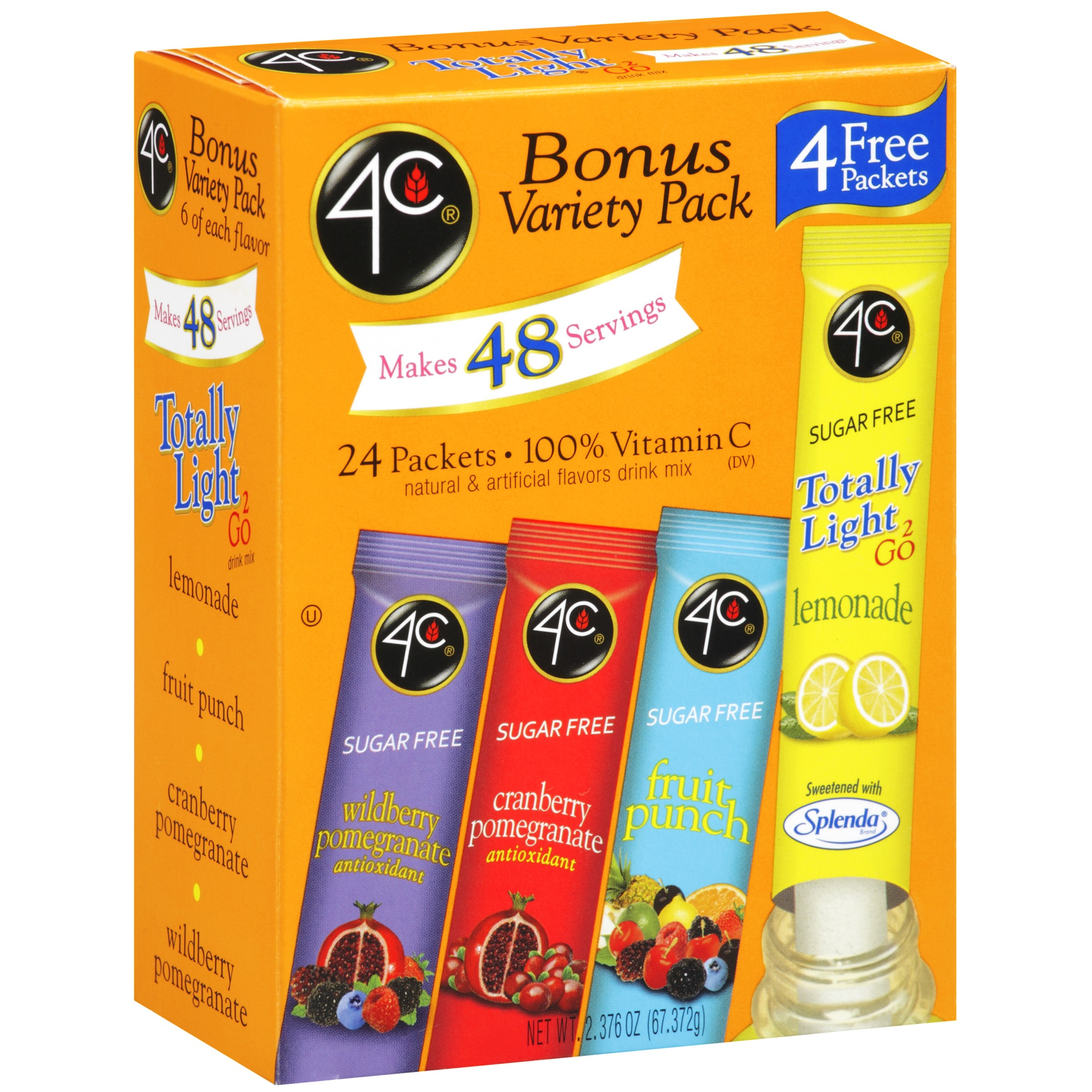 4C Totally Light 2Go Drink Mix, Variety, 2.3 Oz, 24 Packets, 1 Count