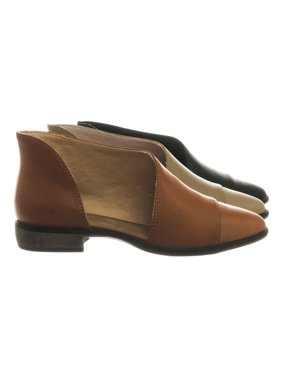 Masterpiece01 by Bamboo, Flat Asymmetrical Cut-Out d'Orsay Ballet Shoes Block Heel Shoes