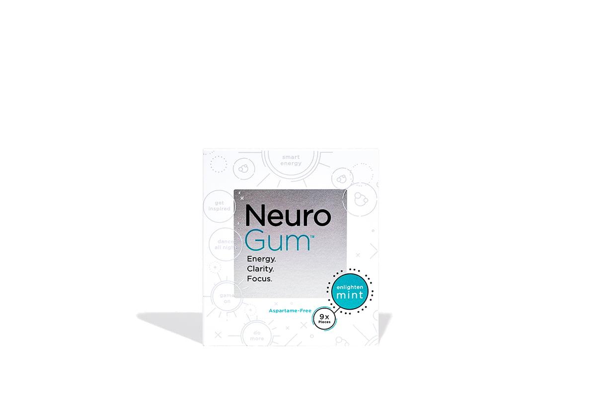 NeuroGum Nootropic Energy Gum, Enlighten Mint Flavor, 9 Pieces Per Pack (12  Pack)