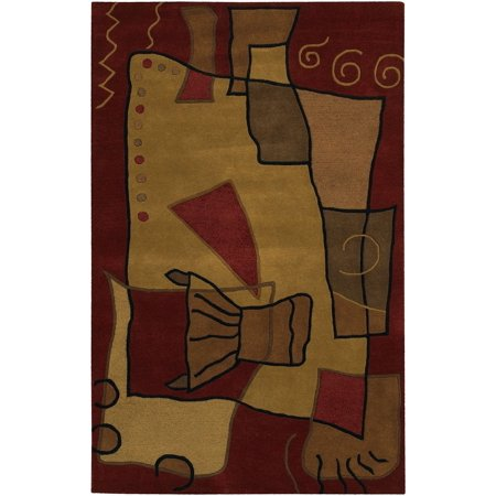 Contemporary Antara Collection Area Rug in Multi-Red and Oval, Rectangle, Round, Runner Shape (7 9 Round Antara)