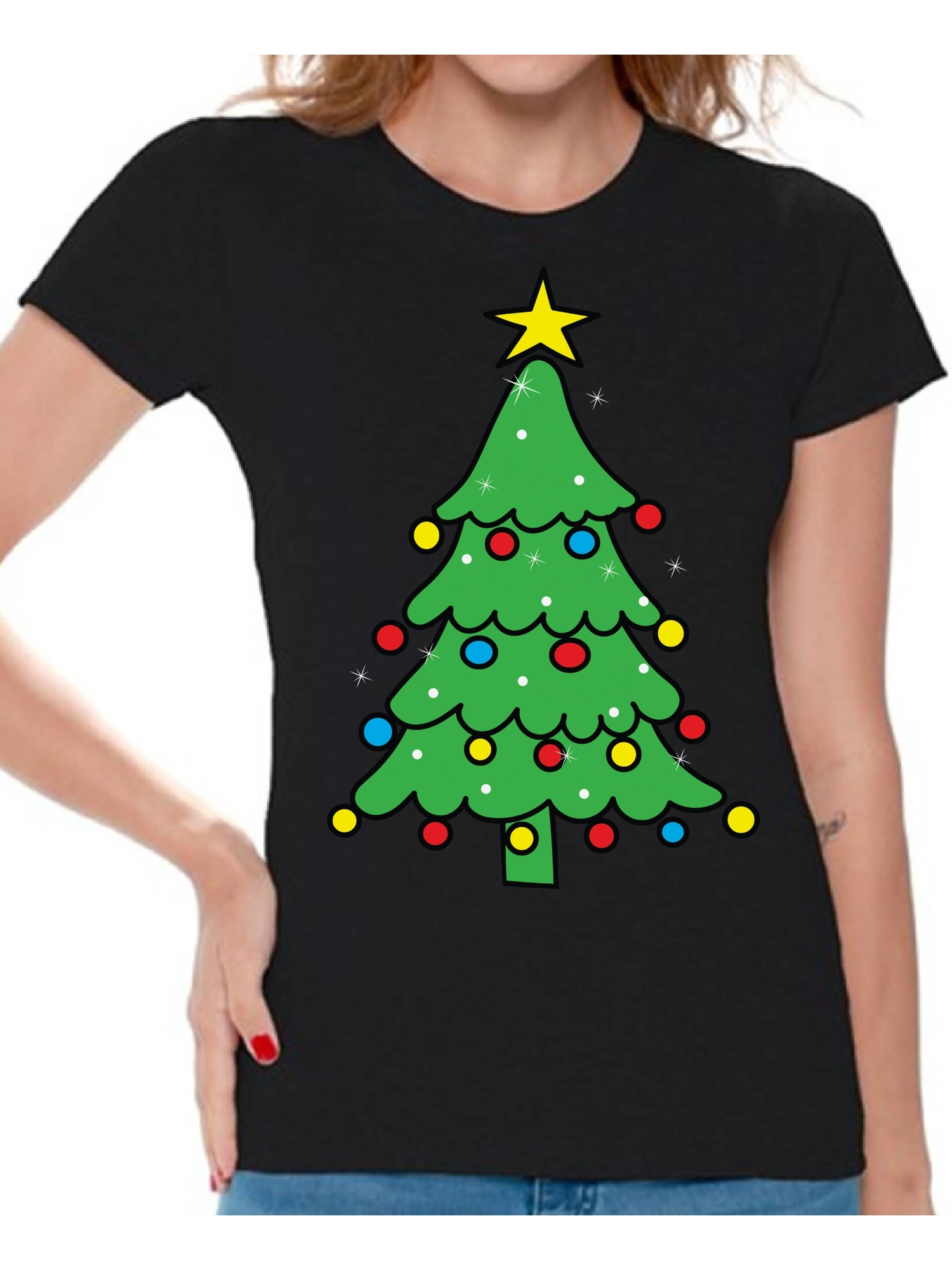 Christmas Tree Cat Summer Basic Kids Short Sleeve Tee Short T Shirts