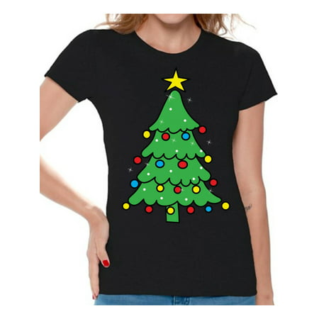 Christmas Clothes For Women (Awkward Styles Christmas Tree Shirt Christmas Shirts for Women Christmas Tree Ugly Christmas T-shirt Merry Christmas Shirt Women's Holiday Top Family Holiday Shirts Christmas Gifts for Her Xmas)
