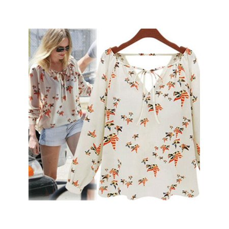 V-neck Top Shirt Blouse (Nicesee Womens Casual V-neck Floral Chiffon Blouse Tops)