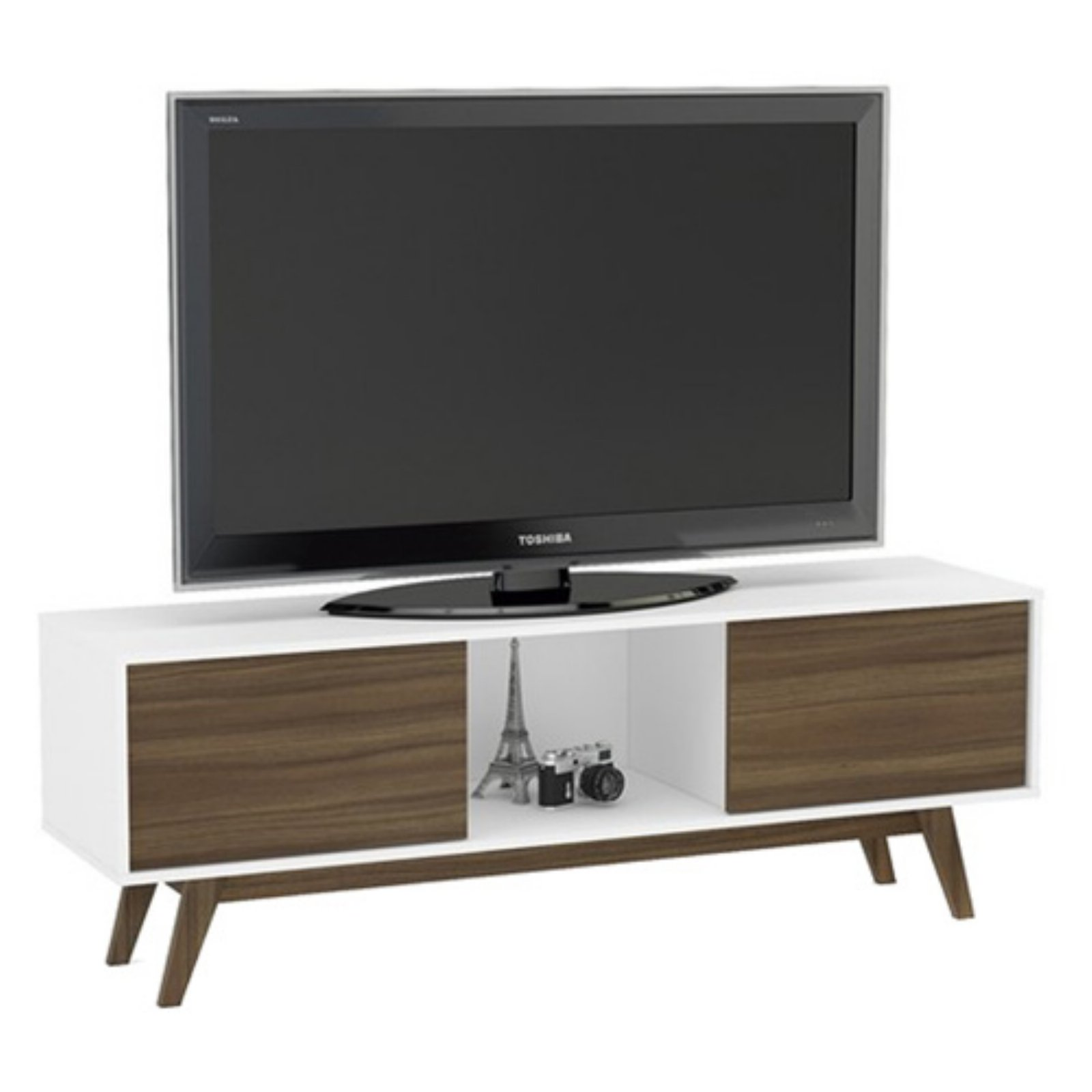 "Boahaus Contempoary TV Stand up to 60"", White - Walnut, 2 closed compartments"