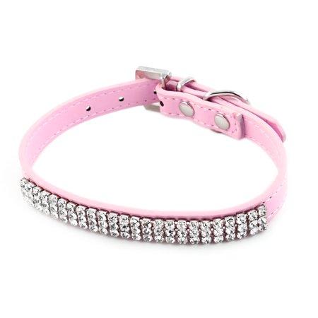 Pet Faux Diamond Heart Decor Adjustable Neck Buckle Dog Leash Collar Belt Pink - Heart Adjustable Collar