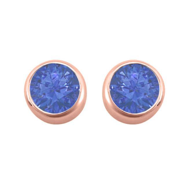 Fine Jewelry Vault UBUERAGVR600S 2 carat September Birthstone Bezel Sapphire Stud Earrings in 14K Rose Gold Vermeil