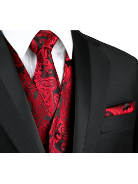 Italian Design, Men's Formal Tuxedo Vest, Tie & Hankie Set for Prom, Wedding, Cruise in Apple Paisley