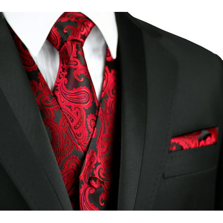 - Italian Design, Men's Formal Tuxedo Vest, Tie & Hankie Set for Prom, Wedding, Cruise in Apple Paisley