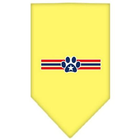 Patriotic Star Paw Screen Print Bandana Yellow Large