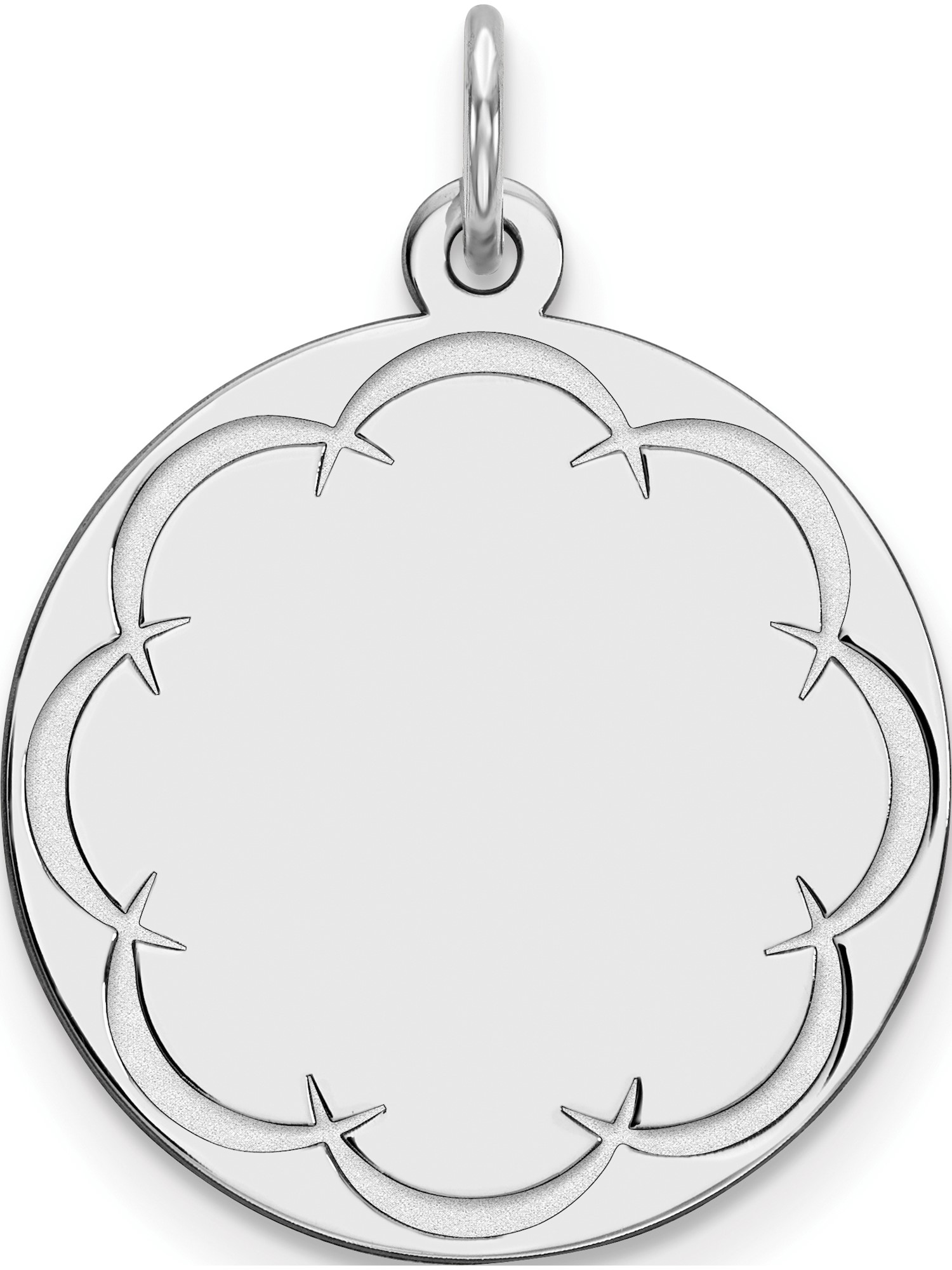 Sterling Silver Engraveable Round Polished Front//Satin Back Disc Charm
