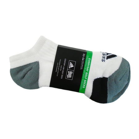NEW Adidas Everyday Comfort Low Cut Golf Socks White/Gray/Black Mens Size