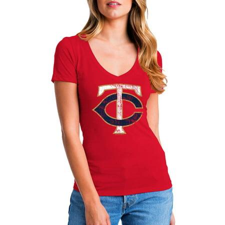 MLB Minnesota Twins Women's Short Sleeve Team Color Graphic Tee Minnesota Twins Laser