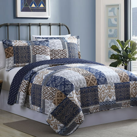 100% Cotton 2 Piece Printed Reversible Quilt Set - Laura Twin (Laura 4 Piece)