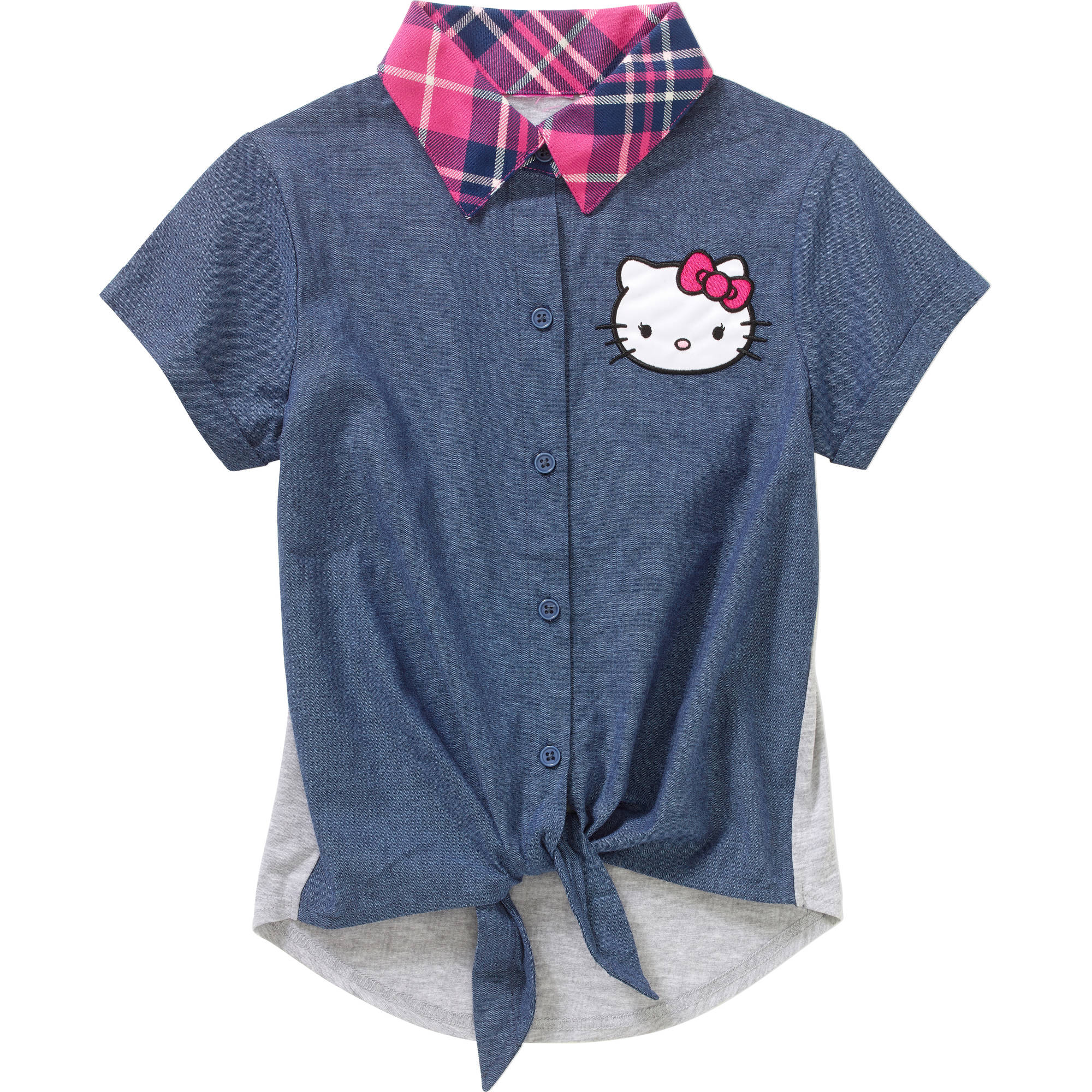 Hello Kitty Girls' Short Sleeve Front Tie with Plaid Collar Top