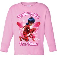 Personalized Miraculous Birthday Girls' Pink Long Sleeve Tee