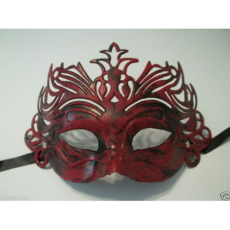 Dark Antique Red Venetian Laser Cut Mardi Gras Masquerade Half Mask Crown](Masquerade Masks Red)