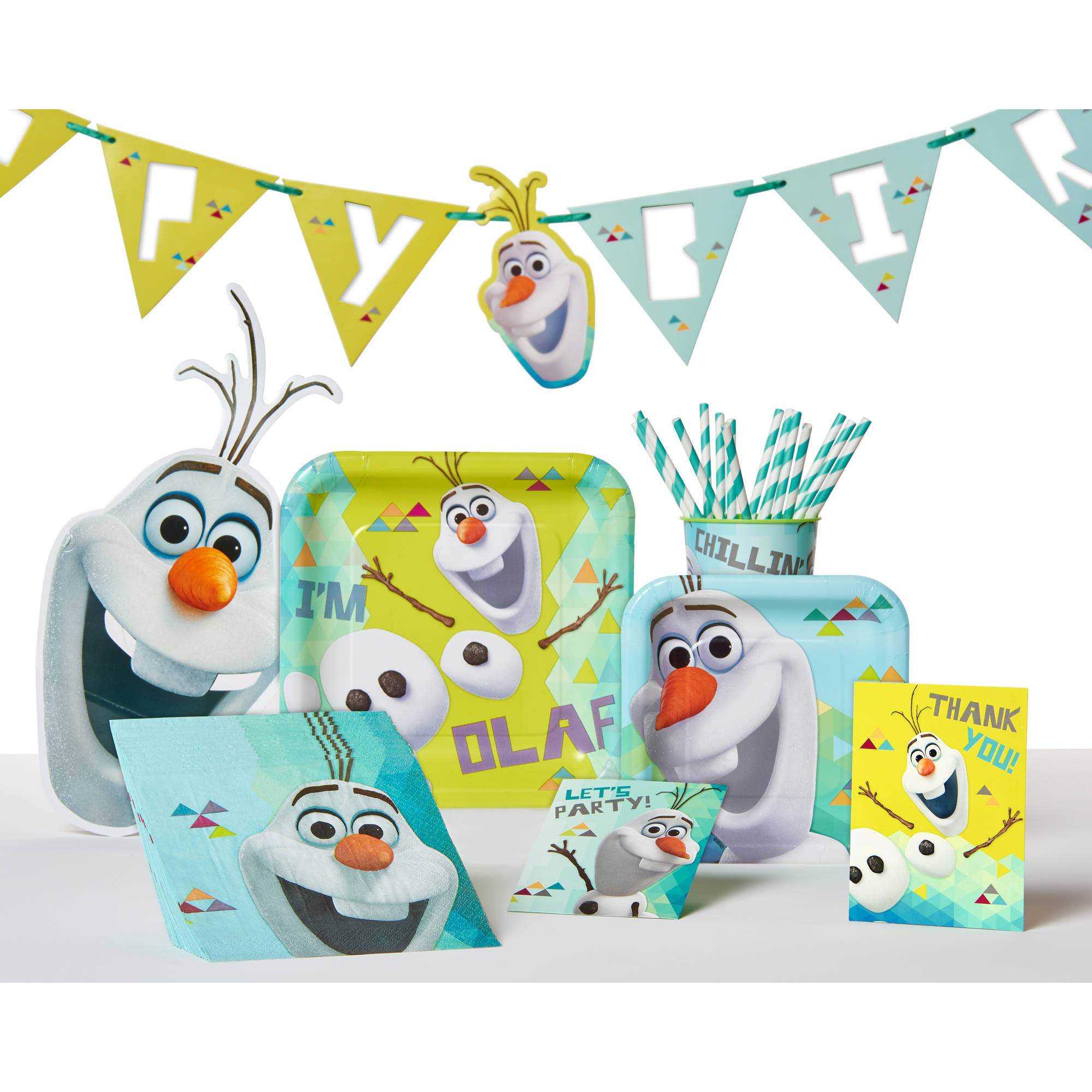 """9"""" Olaf Square Paper Party Plate, 9ct"""