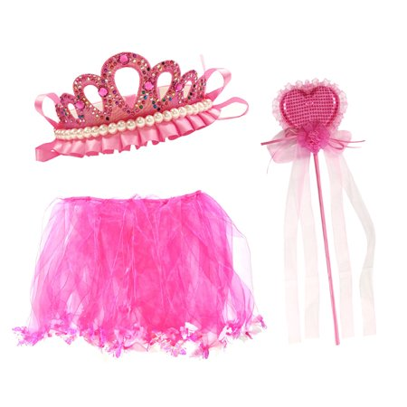 Wrapables® Girls Princes Tiara Wand and Tutu Party Favor Set O/S Hot Pink - Prince Attire For Kids
