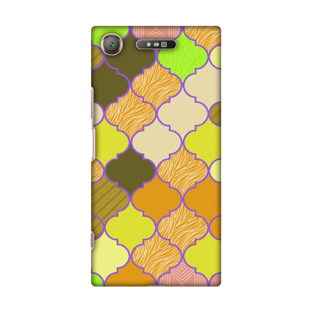 Sony Xperia XZ1 Case - Stained glass- Chocolate orange, Hard Plastic Back Cover, Slim Profile Cute Printed Designer Snap on Case with Screen Cleaning Kit