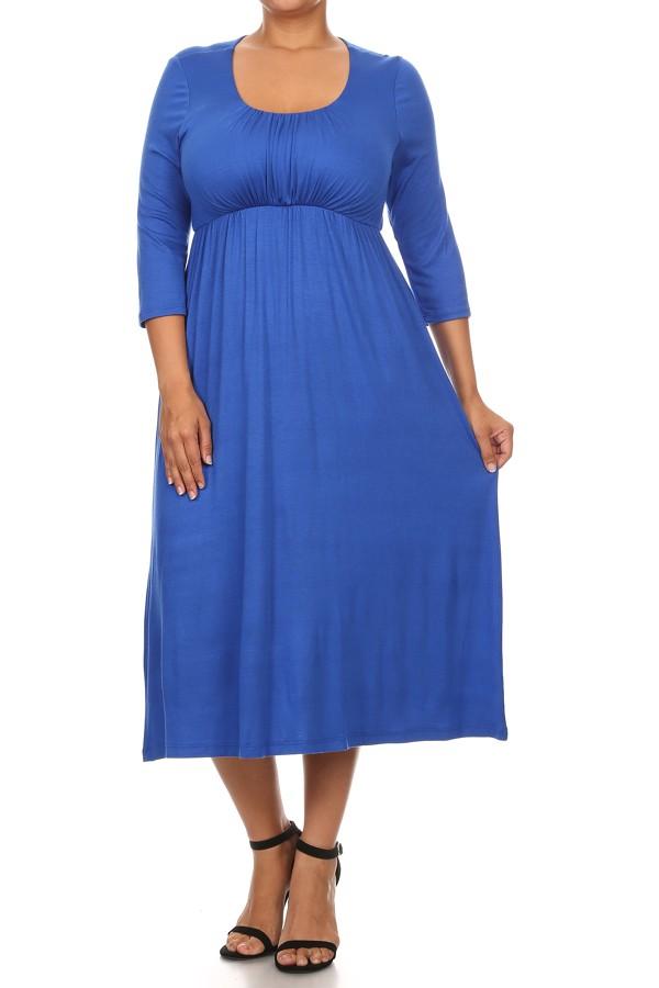 Plus Size Women's 3/4 Sleeves Babydoll Knit Dress