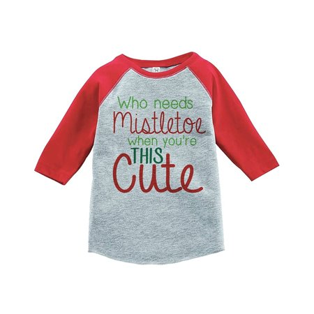 custom party shop youth mistletoe christmas raglan shirt red xl 18 20 t shirt walmartcom - Mistletoe Christmas