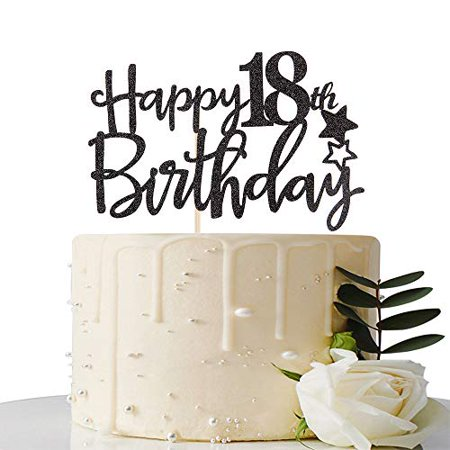 Surprising Maicaiffe Black Glitter Happy 18Th Birthday Cake Topper Hello 18 Funny Birthday Cards Online Fluifree Goldxyz