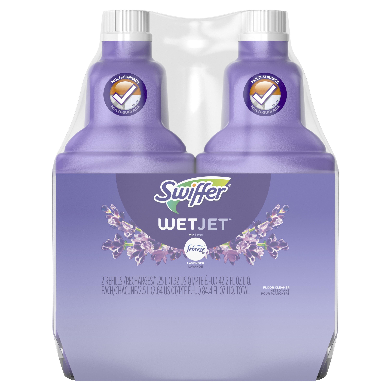 Swiffer WetJet Multi-Purpose Floor Cleaner Solution with Febreze Refill, Lavendar Vanilla and Comfort Scent, 1.25 Liter (Pac of 2)