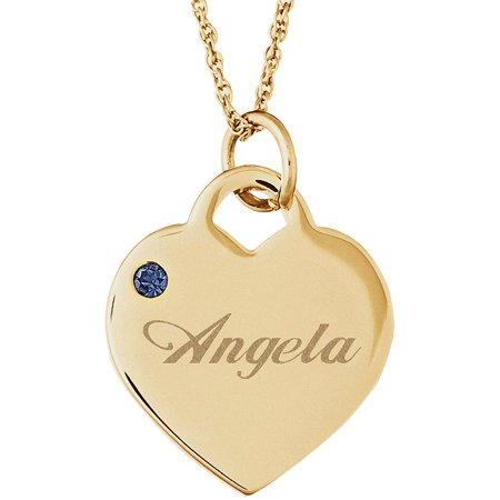 Personalized silver tone or 14kt gold plated name and birthstone personalized silver tone or 14kt gold plated name and birthstone heart charm pendant walmart mozeypictures Gallery