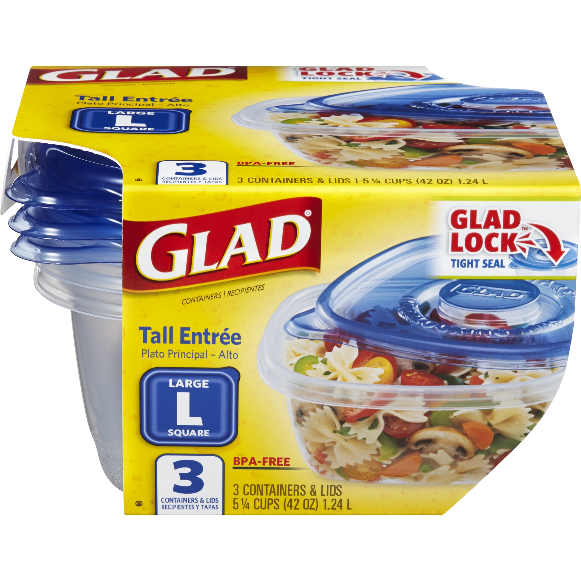 Glad Food Storage Containers   Tall Entree Container   42 Ounce   3 Count
