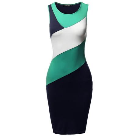 FashionOutfit Women's Casual Color Block Body-Con Midi Tank - Dress Color Block