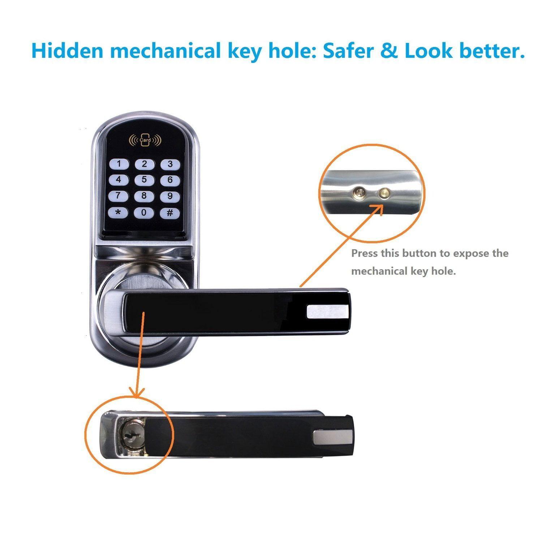Ardwolf A30 Electronic Keyless Keypad Door Lock, Code + Mifare Card +  Mechanical Key, + Multi Functions   Walmart.com
